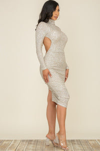 Open Back Long Sleeve Sequin Midi Dress - Silver - SohoGirl.com