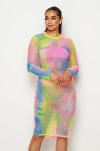 Long Sleeve Tie Dye Fishnet Midi Dress - Pink/Blue Multicolor - SohoGirl.com