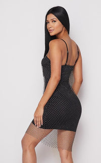 Rhinestone Fishnet Slip On Dress - Black