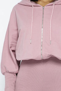 Full Body Jumpsuit With Hoodie - Mauve - SohoGirl.com