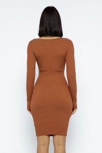 Open Square Front Mini Dress - Rust - SohoGirl.com