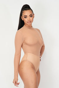 Long Sleeve Sheer Mock Neck Body Suit - Nude - SohoGirl.com