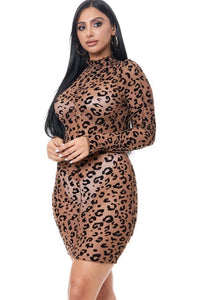 Cheetah Print Sheer Long Sleeve Mini Dress