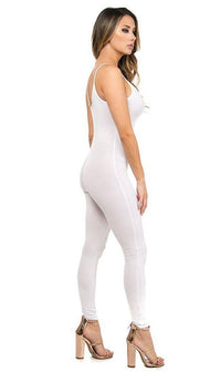 Basic Tank Top Unitard Jumpsuit in White - SohoGirl.com