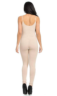 Basic Tank Top Unitard Jumpsuit in Nude