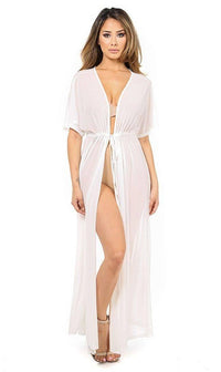 White Sheer Mesh Maxi Duster (Plus Sizes Available) - SohoGirl.com