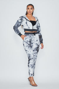 2 Pc. Rhinestone Jogger Set With Hoodie Crop Top - White Tye Dye - SohoGirl.com