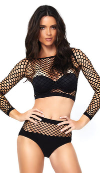 Two Piece Industrial Net Top and Panty Set