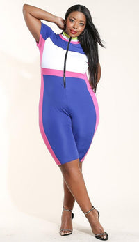 Plus Size Short Sleeve Colorblock Capri Jumpsuit in Blue