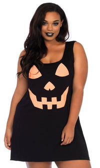 Plus Size Pumpkin Jersey Dress in Black - SohoGirl.com