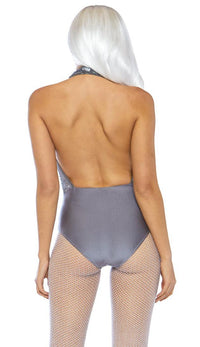 Shimmer Sequin Snap Crotch Plunging Bodysuit - Gray