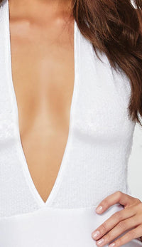 Shimmer Sequin Snap Crotch Plunging Bodysuit - White