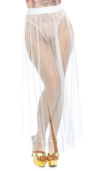 Multi Slit Sheer Maxi Skirt -White - SohoGirl.com