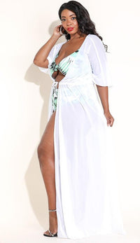 Plus Size White Sheer Mesh Maxi Duster