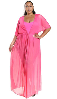 Plus Size Sheer Mesh Maxi Duster - Hot Pink - SohoGirl.com