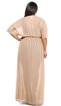 Plus Size Sheer Mesh Maxi Duster - Nude - SohoGirl.com