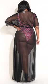 Plus Size Black Sheer Mesh Maxi Duster - SohoGirl.com