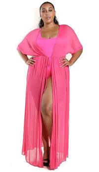 Plus Size Sheer Mesh Maxi Duster - Hot Pink