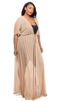 Plus Size Sheer Mesh Maxi Duster - Nude