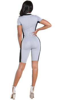 Short Sleeve Colorblock Capri Jumpsuit in Gray (Plus Sizes Available)