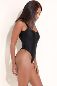 Black Nylon Open Back Bodysuit - SohoGirl.com