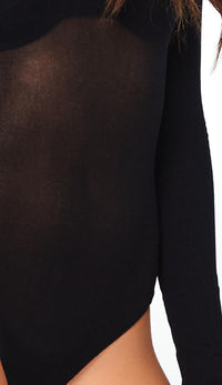 Black Opaque Turtleneck Bodysuit - SohoGirl.com