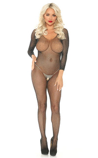 Rhinestone Fishnet Bodystocking Jumpsuit