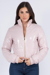 Cropped Puffer Jacket in Pink - SohoGirl.com