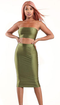 High Waisted Nylon Midi Pencil Skirt - Olive - SohoGirl.com