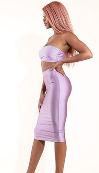 High Waisted Nylon Midi Pencil Skirt - Lavender - SohoGirl.com