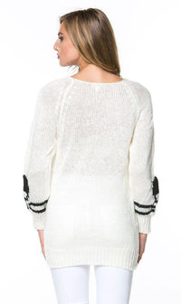 Skull Print Knit Sweater in White