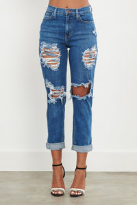 High Waste Distressed Open Knee Mom Jeans - Medium Denim - SohoGirl.com