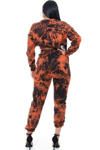 2 Piece Tye Dye Jogger Set - Orange - SohoGirl.com