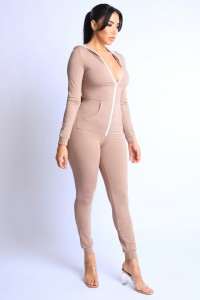 Sweat Onesie With Hoodie - Taupe - SohoGirl.com