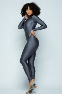 Nylon Spandex Zip-Up Long Sleeve Jumpsuit - DK Silver