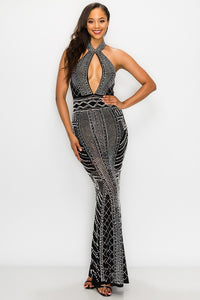 Key Hole Pearl Maxi Dress - Black - SohoGirl.com