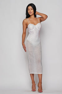 Sequin Embellished Dress - White - SohoGirl.com