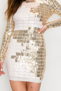 Grid Pattern Long Sleeves Sequin Mini Dress - Gold and White