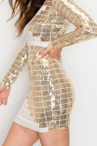 Grid Pattern Long Sleeves Sequin Mini Dress - Gold and White - SohoGirl.com