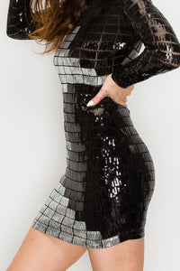 Grid Pattern Long Sleeves Sequin Mini Dress - Black and Sliver - SohoGirl.com