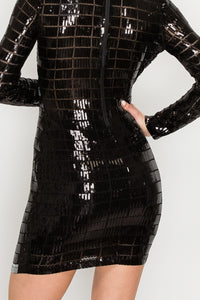 Grid Pattern Long Sleeves Sequin Mini Dress - Black and Sliver