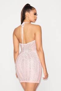 Studded Bodycon Mini Dress - Light Pink