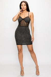 Studded and Sheer Bodycon Mini Dress - Black