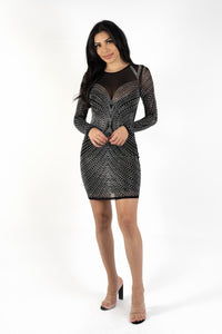 Bodycon Silver Crystal Mini Dress - Black