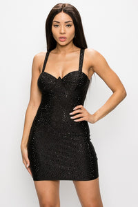Black Studs Bodycon Mini Dress - Black - SohoGirl.com