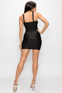Black Studs Bodycon Mini Dress - Black