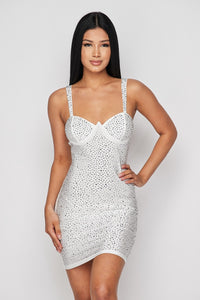 White Studded Bodycon Mini Dress - White - SohoGirl.com