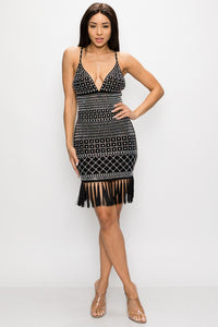 Studded Fringe and Tassel Mini Dress - Black