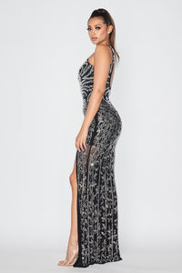 Pearls Detail High Slit Halter Maxi Dress - Black