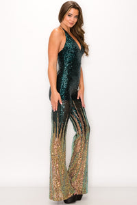 Sequin Flair JumpSuit - Green and Rose Gold - SohoGirl.com